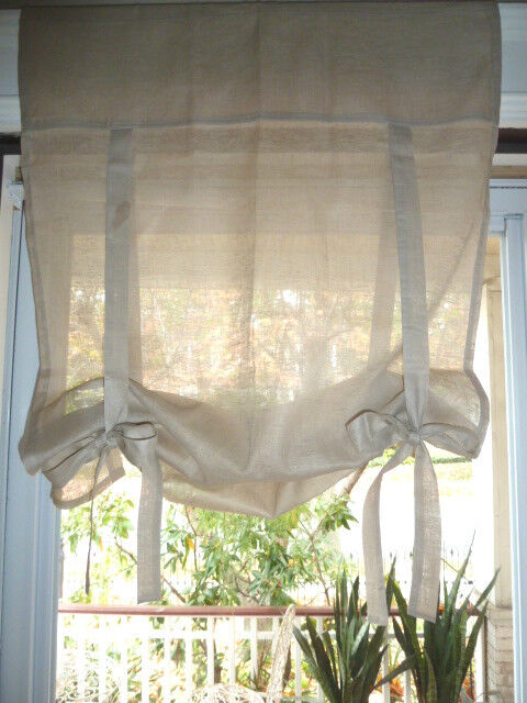 Pottery Barn Linen Ribbon Tie Curtain Drape Panel Shade Taupe 26 W X44 L Ebay
