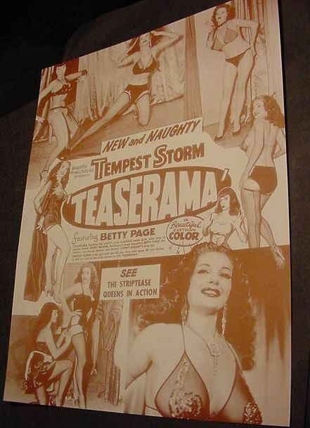 VINTAGE BETTY PAGE TEASERAMA TEMPEST STORM MOVIE POSTER ...