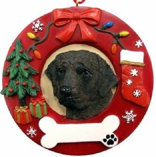 chocolate labrador hand painted christmas ornament holiday
