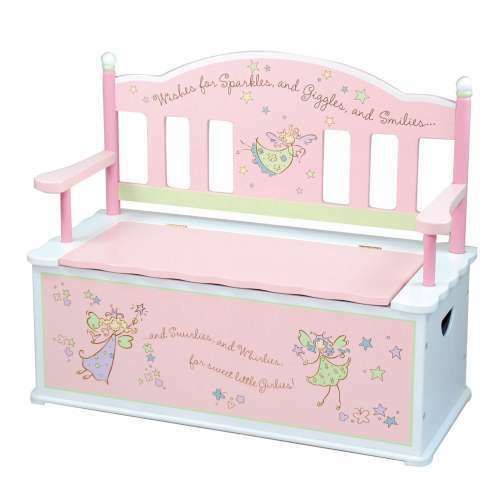 Kids Storage Bench Furniture Toy Box Bedroom Playroom: GIRL FAIRY BENCH SEAT W/STORAGE TOY CHEST BOX KID