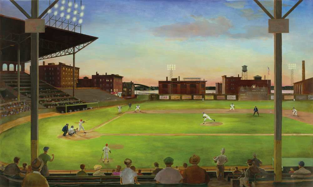 New xl vintage baseball prepasted wallpaper mural boys for Baseball field mural