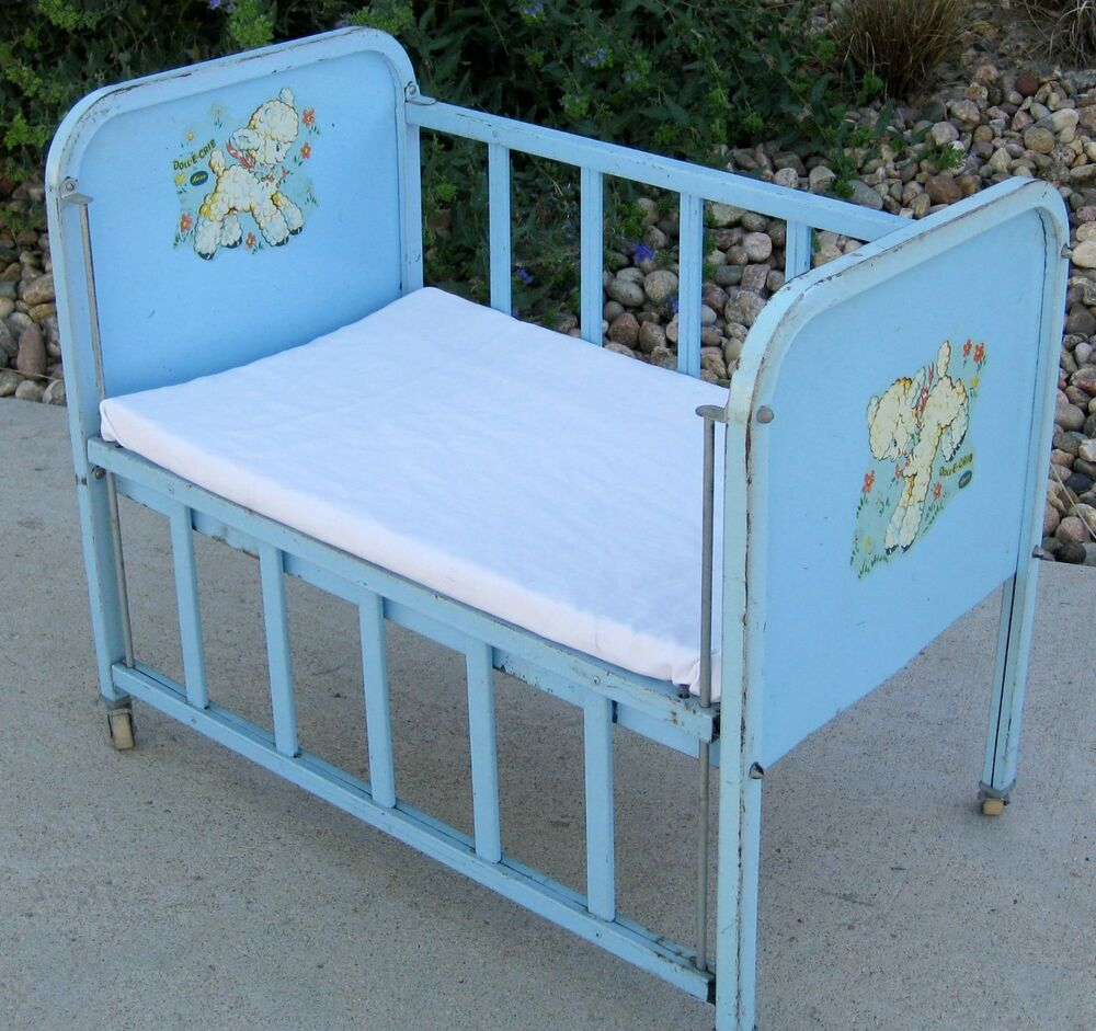 Blue Metal Vintage 1950 S Amsco Quot Doll E Crib Quot Bed