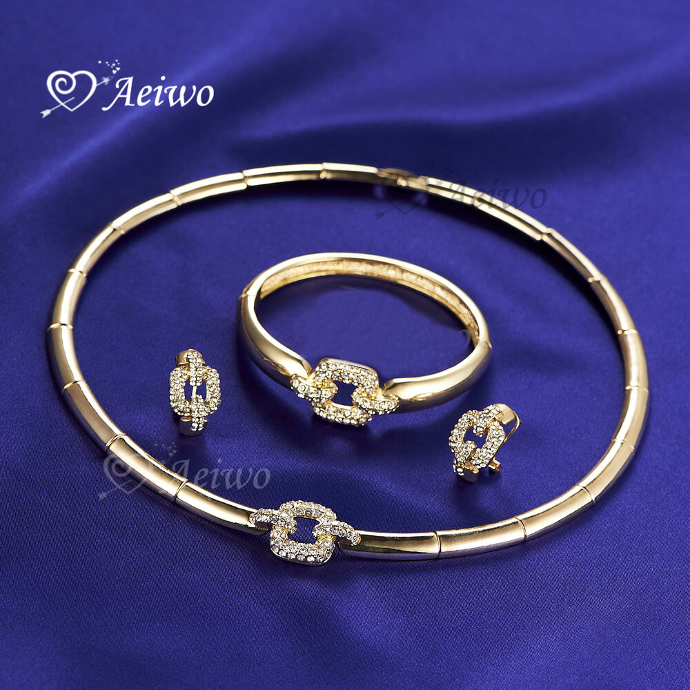 bracelet and earrings sets 18k gf yellow gold bangle bracelet necklace stud 2550