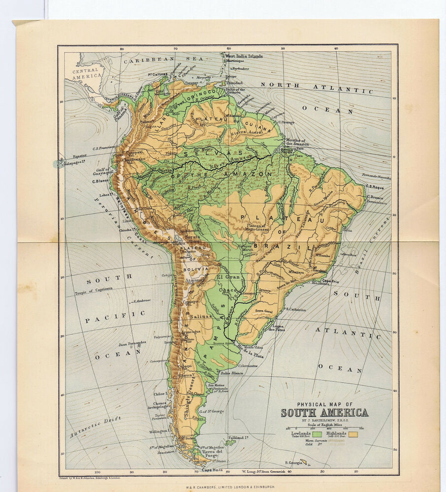1890 south america color antique geographical physical map for What color is south america