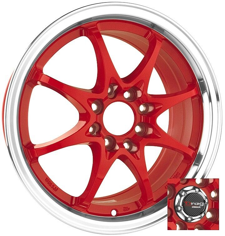 15 4x100 Drag Dr9 Red Wheel Rims Honda Civic Accord Crx Ebay