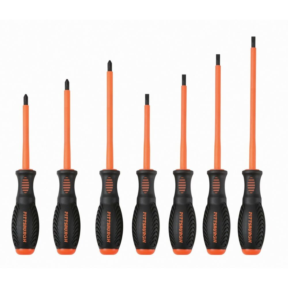 7 pc electrician 39 s insulated electrical hand screwdriver tool set ebay. Black Bedroom Furniture Sets. Home Design Ideas