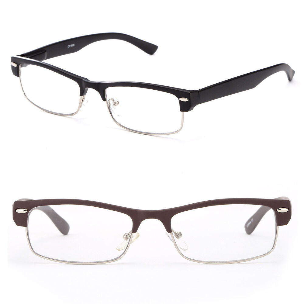 Half Frame Reading Glasses Classic Simple Black Flat Brown ...
