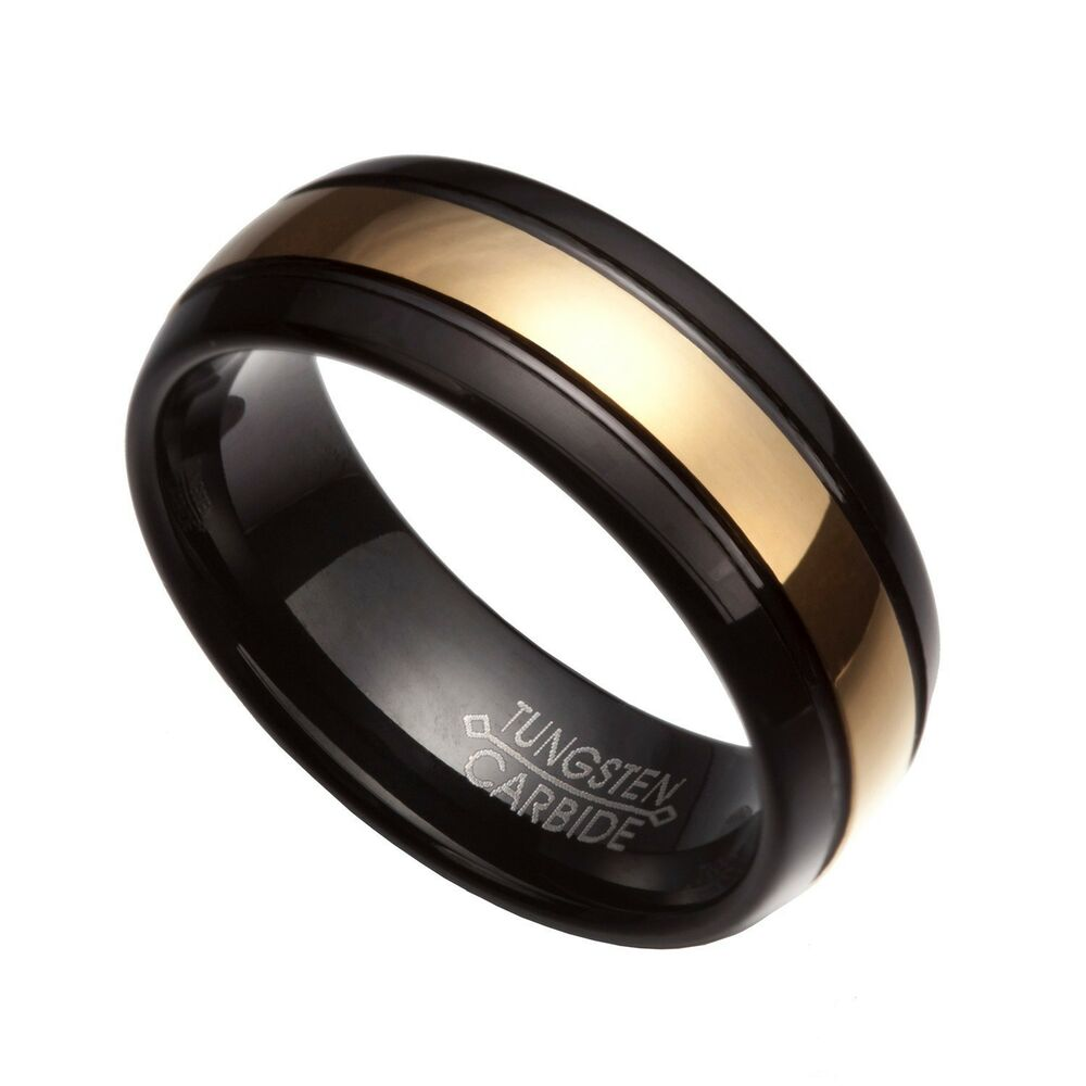 men 39 s 8mm black gold tungsten carbide comfort fit wedding rings us