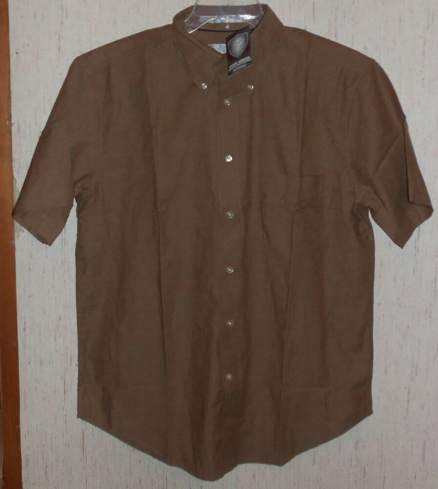 nwt mens zinc brown chambray wrinkle resistant zorrel