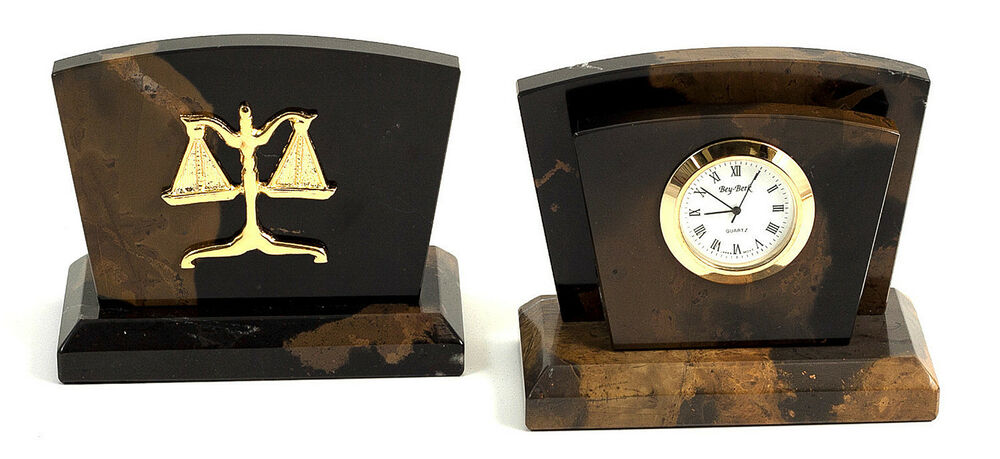 Desk Accessories Scales Of Justice Clock And Letter Rack