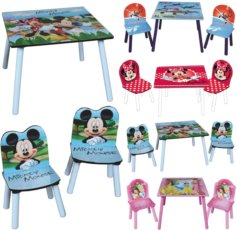 Disney wooden childrens table two chairs set kid desk bedroom playroom furniture ebay for Table and chair set for bedroom