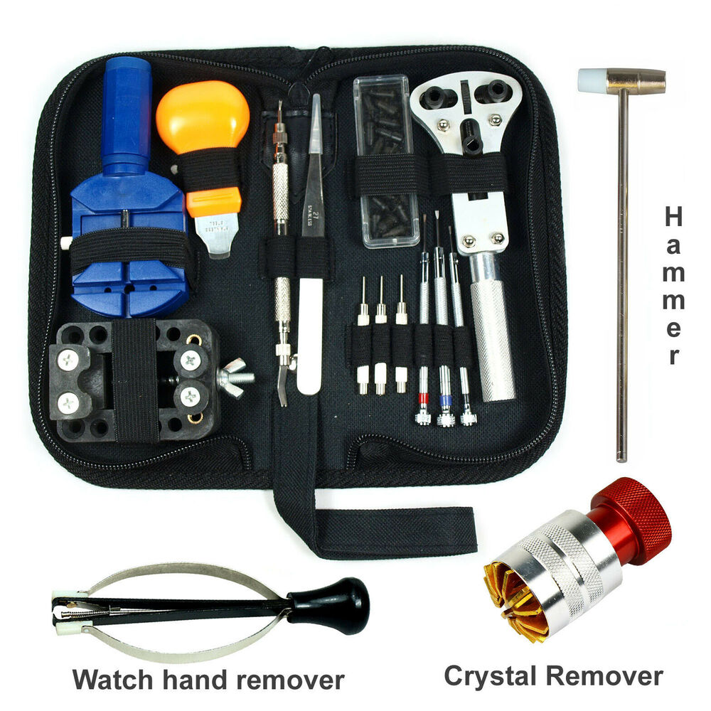 Watch repair tool kit case opener link crystal hand for Kit per carrozzelle