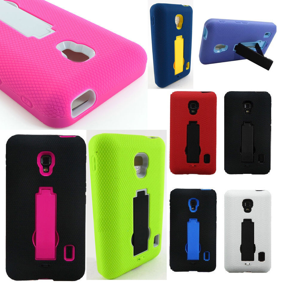 For LG Optimus F6 IMPACT HYBRID KICKSTAND Hard Rubber Case Phone Cover ...