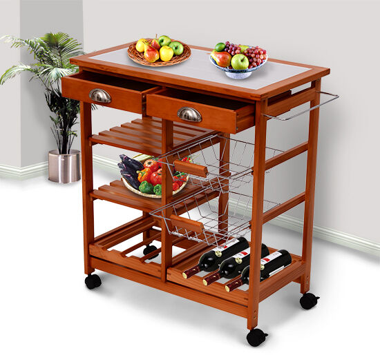 "Kitchen Island With Wine Rack: 30"" Portable Rolling Kitchen Storage Tile Top Island"