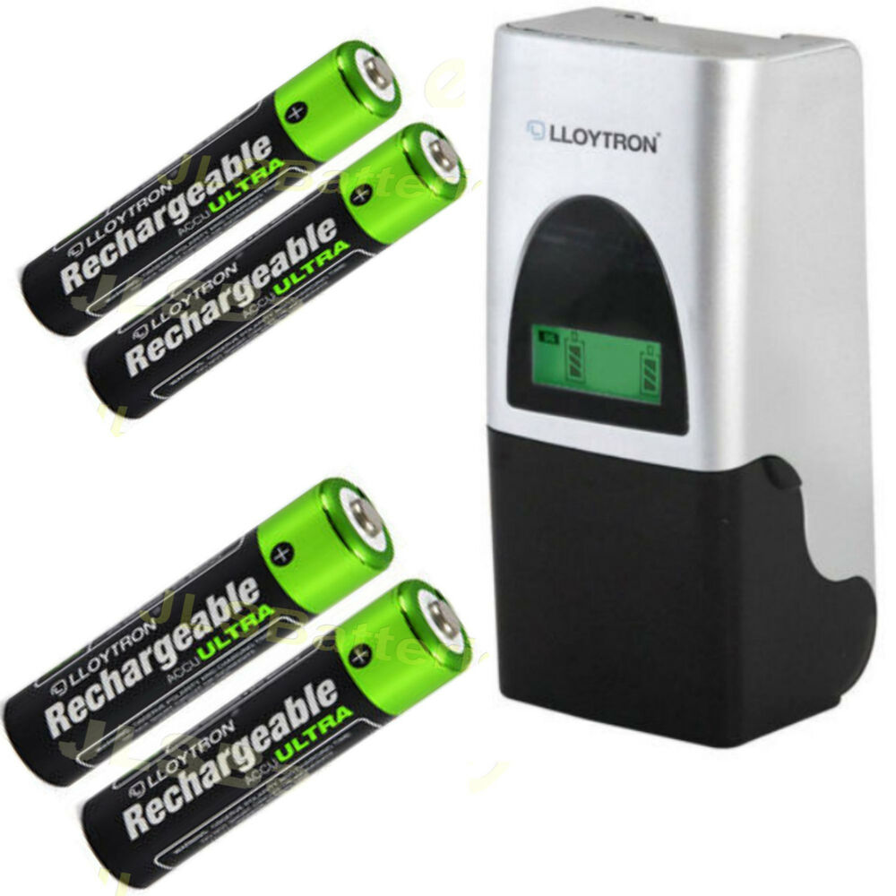 aa or aaa ni mh battery charger with 4 free batteries ebay. Black Bedroom Furniture Sets. Home Design Ideas