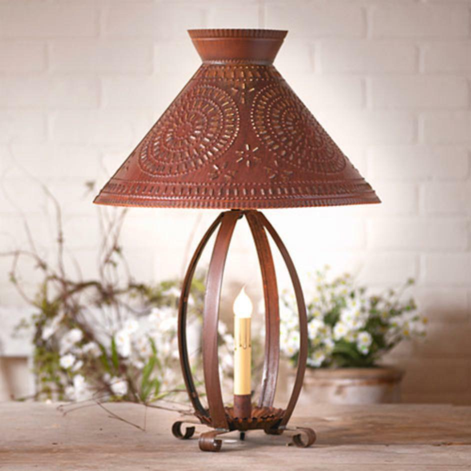 large rusty punched tin table lamp w tin shade free shipping ebay. Black Bedroom Furniture Sets. Home Design Ideas