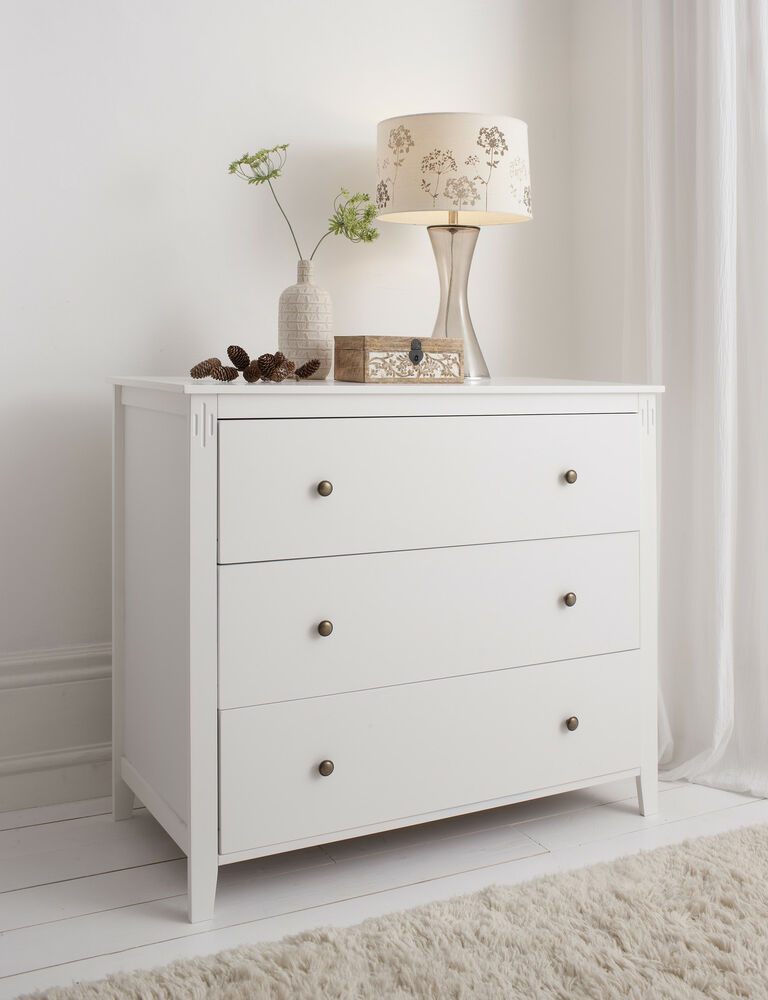 chest of drawers in white cotswold bedside cabinet different sizes