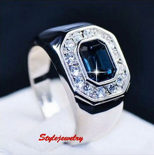 18k White Gold Plated Blue Sapphire Men s Ring Made With Swarovski Crysta