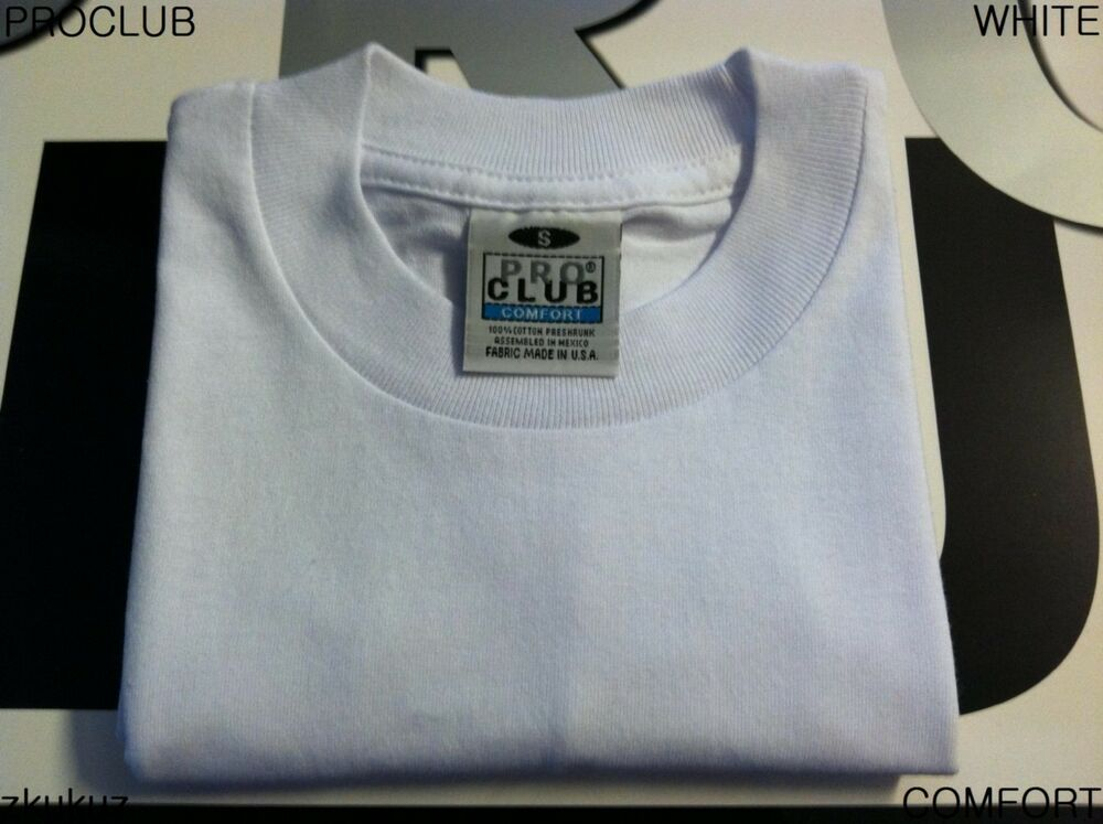 2 new proclub comfort plain t shirt blank white tee pro for T shirts for clubs