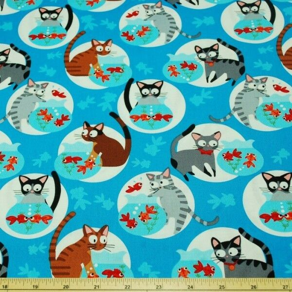 Cats go fishing kittens goldfish bowl 100 patchwork for Cats go fishing
