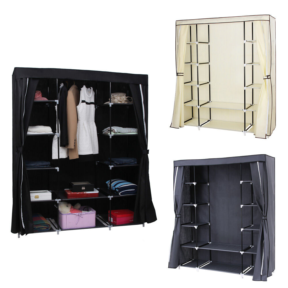 Canvas Storage Boxes For Wardrobes: Songmics 175 X 150 X 45cm Canvas Wardrobe With Clothes