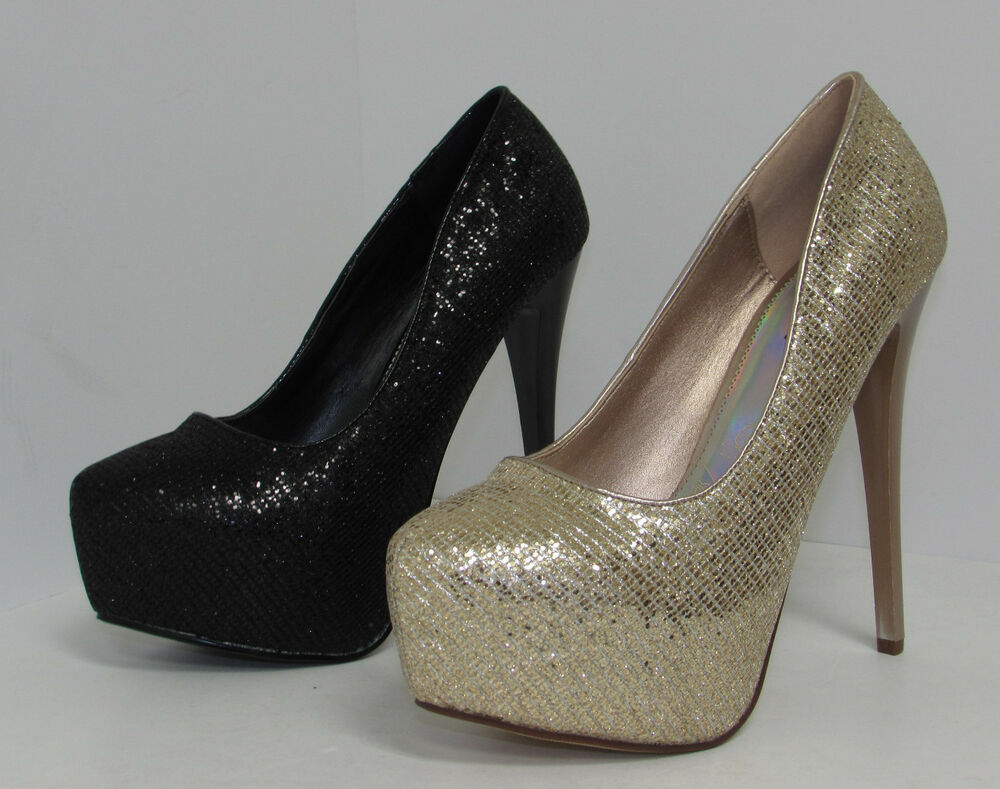 Glitter Closed Toe Platform Pump Womens High Heel Shoe ...