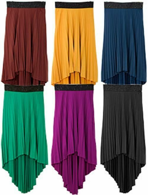 new high low pleated flowing hi lo maxi skirt s m l 6