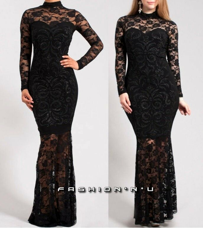 f8bb117b9b36 Details about Black Floral Lace Mermaid Maxi Dress Long Sleeve Turtleneck  Cocktail Gown