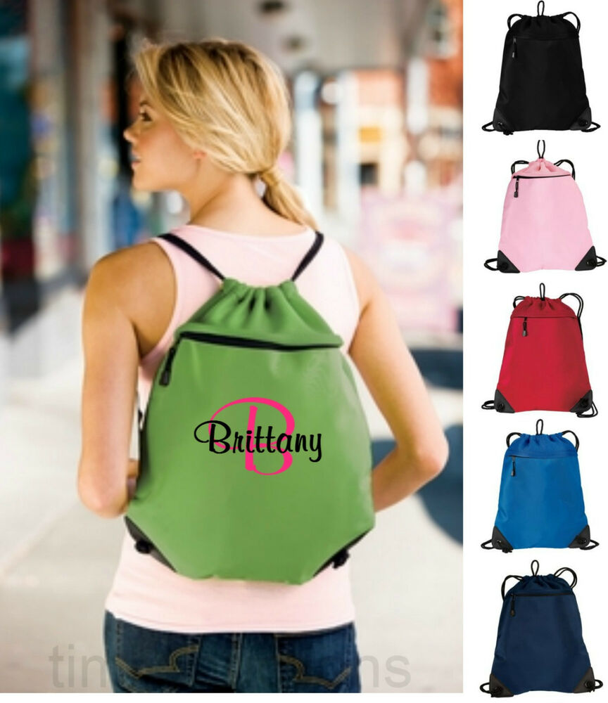 Personalized Monogrammed Drawstring Cinch Tote Backpack ...