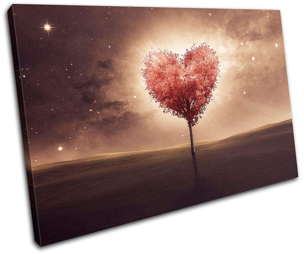 Heart bedroom Romantic night Love SINGLE CANVAS WALL ART ...
