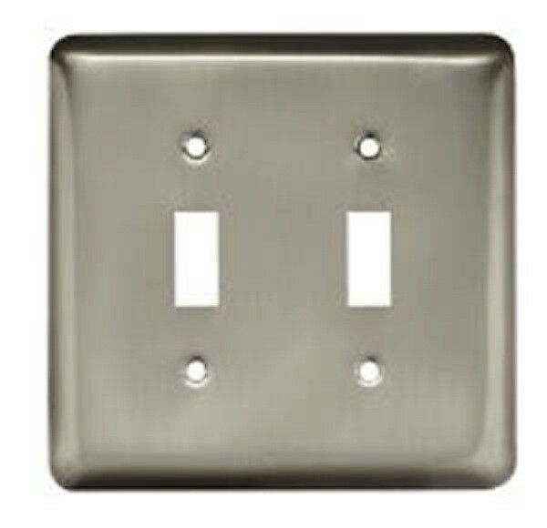 64093 stamped brushed satin nickel double switch cover. Black Bedroom Furniture Sets. Home Design Ideas