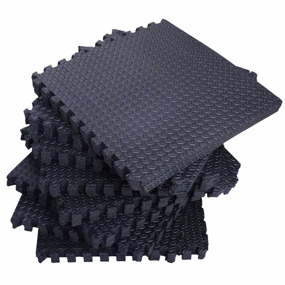 72 Sq Ft Black Foam Interlocking Exercise Protective Tile