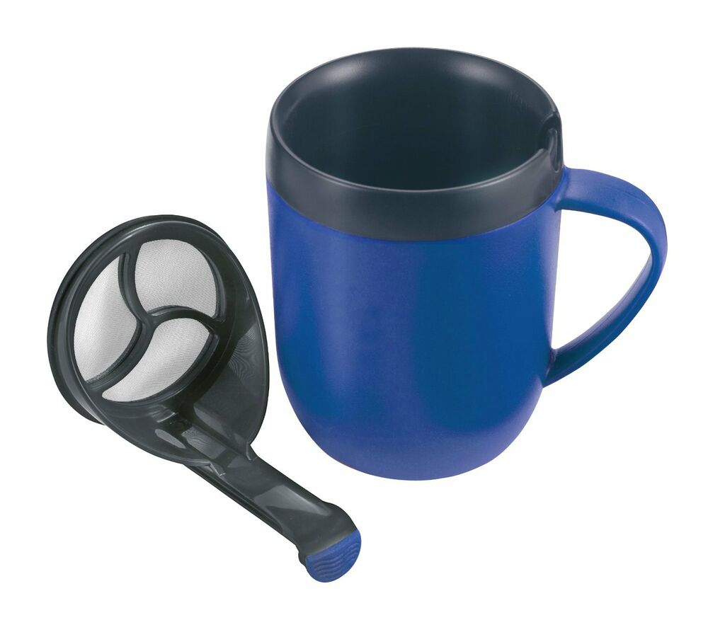 Cup With Lid : Zyliss hot brew mug blue cafetiere coffee cup with lid
