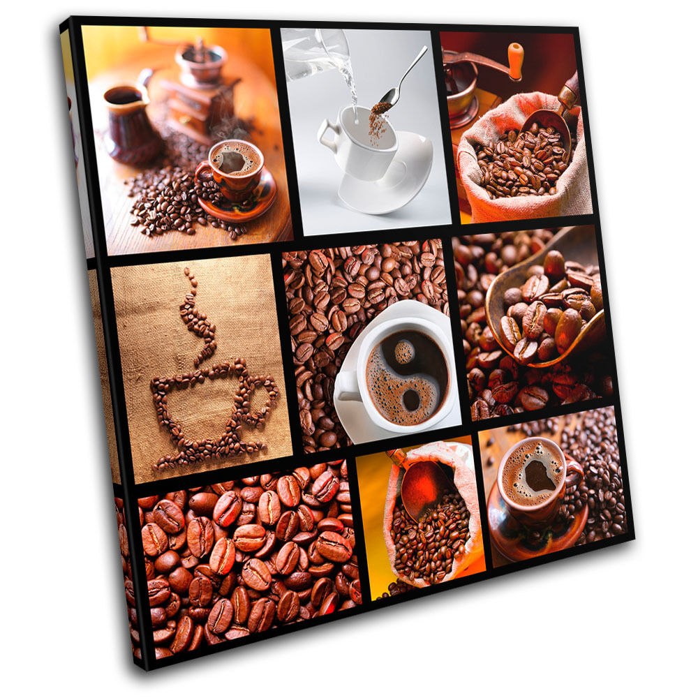 Coffee Collage Brown Food Kitchen SINGLE CANVAS WALL ART