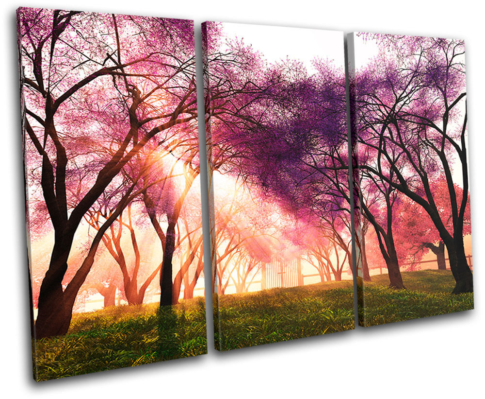 Cherry blossom landscapes treble canvas wall art picture for Picture wall decor