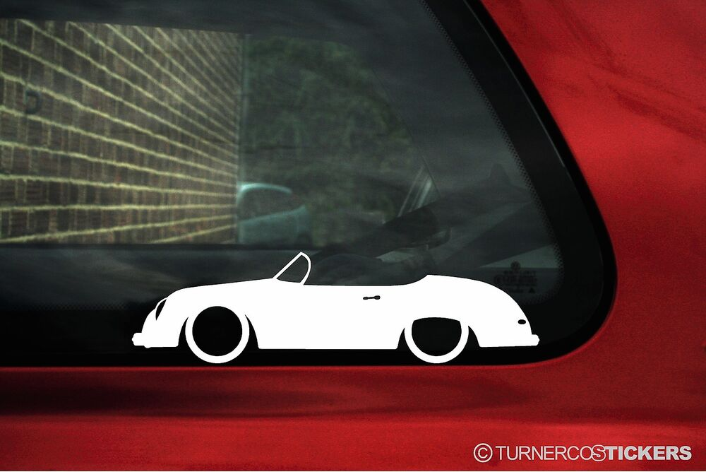 2x Low Classic Porsche 356 Speedster Cabriolet Outline Silhouette Stickers Ebay