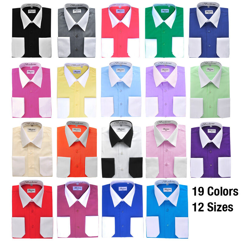 White collar cuffs mens dress shirt by berlioni 19 for Mens dress shirts with different colored cuffs and collars