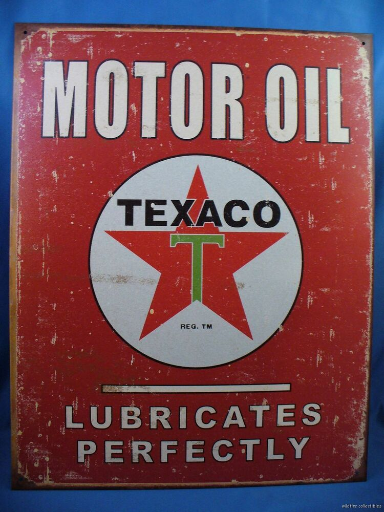 Vintage style made in usa texaco motor oil metal tin sign for How is motor oil made