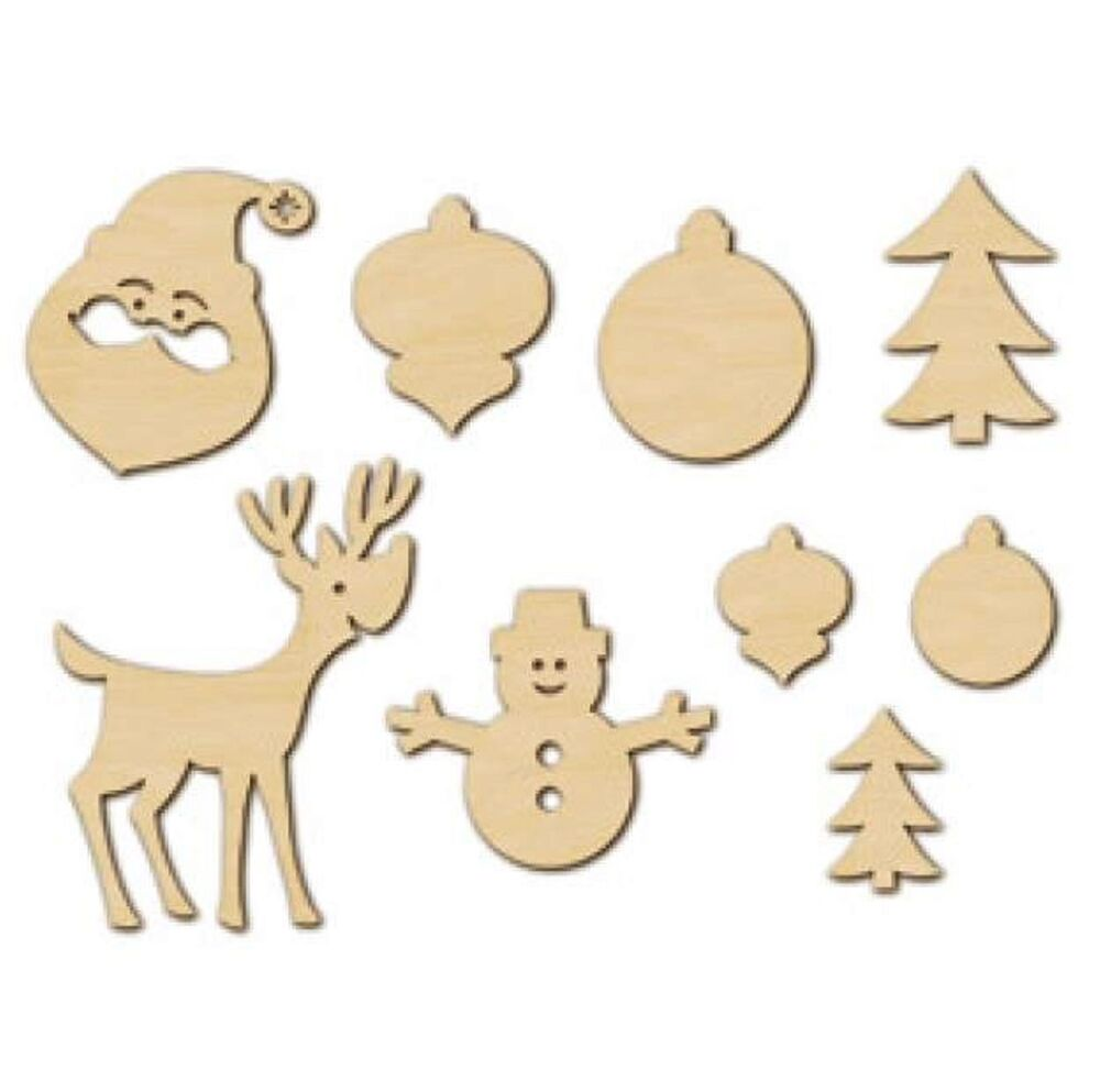 American Crafts Studio Calico Wood Veneer Christmas Navidad Noel 18ct