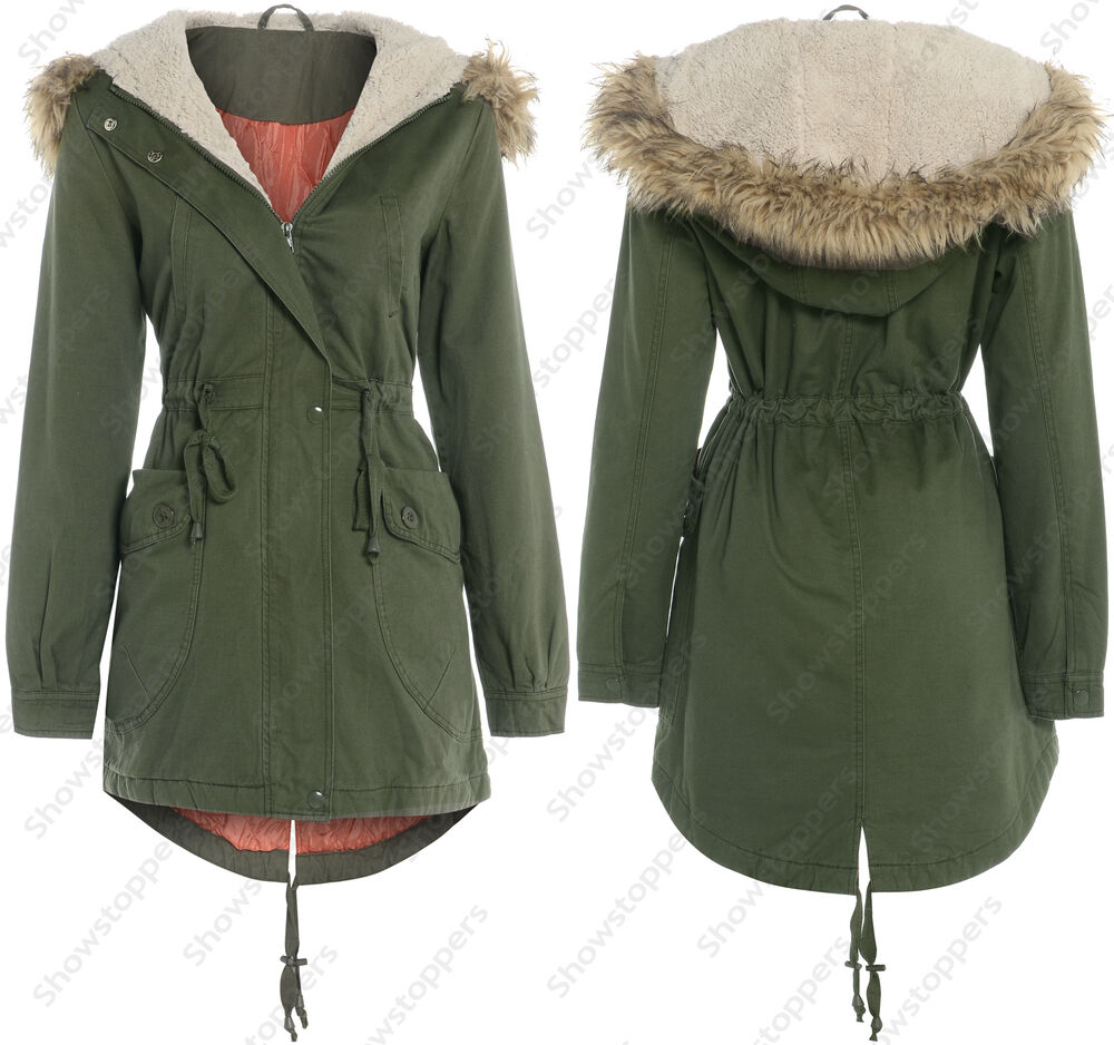 Ladies Khaki Parka Coat ITuwDz