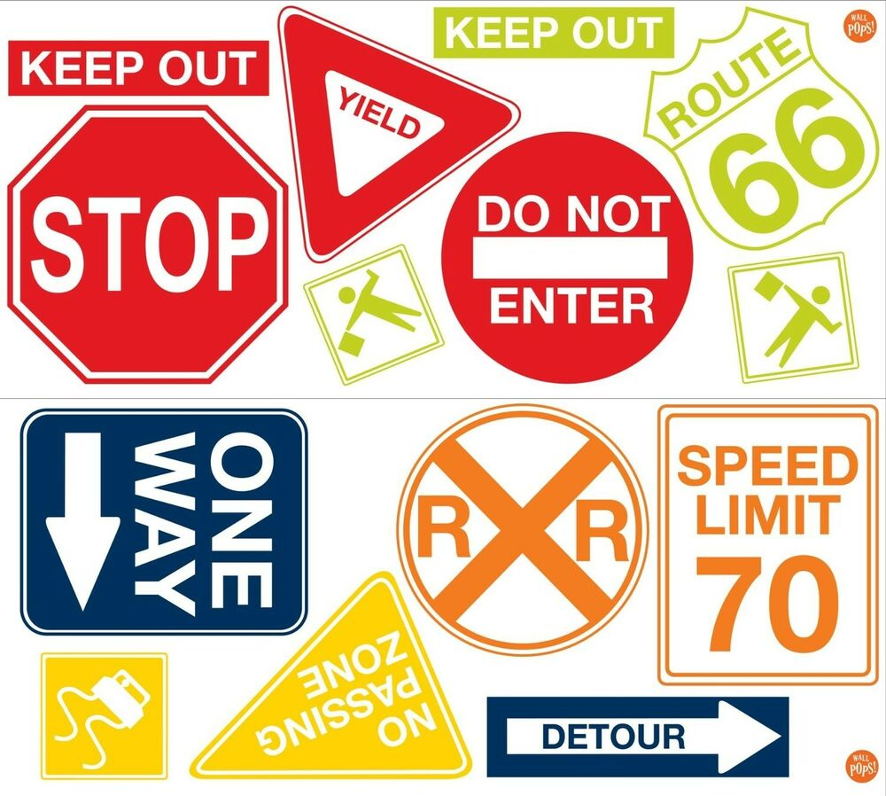 Traffic Signs Wall Decor : Road signs big wall decals cars traffic room decor stop
