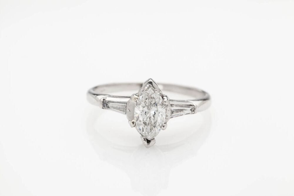 Antique 1930s $6000 1 30ct Marquis Diamond Platinum Wedding Ring