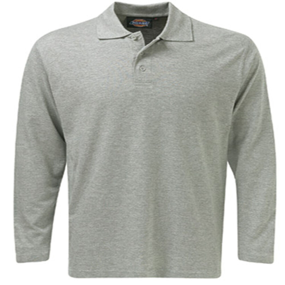 Brand new mens dickies casual work long grey sleeve polo t for Xxl mens polo shirts