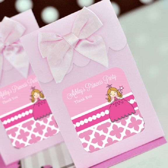 Personalized Party Favor Boxes Birthday : Pink princess party personalized candy boxes bags