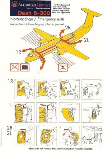 safety card augsburg airways dash 8 300 s2808 ebay. Black Bedroom Furniture Sets. Home Design Ideas