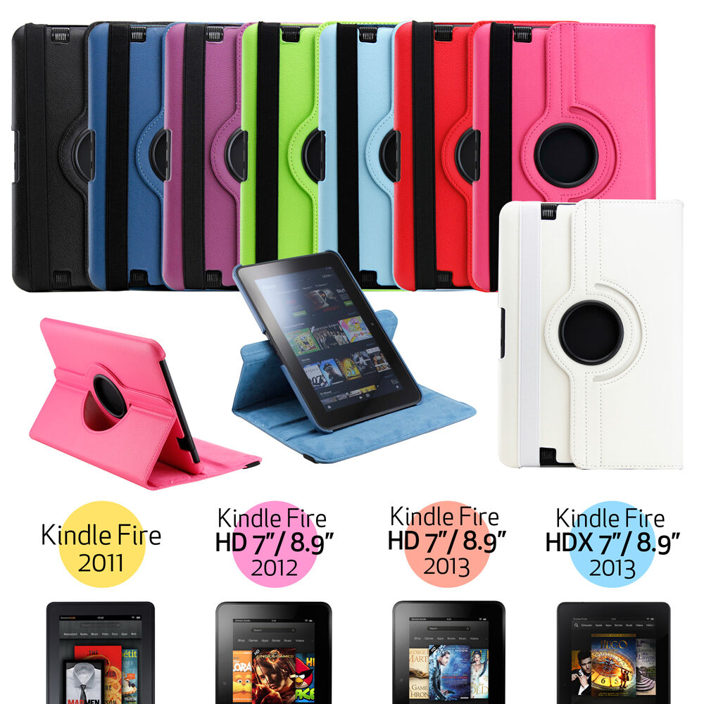 360 rotating pu leather case cover w stand for amazon for Amazon casa