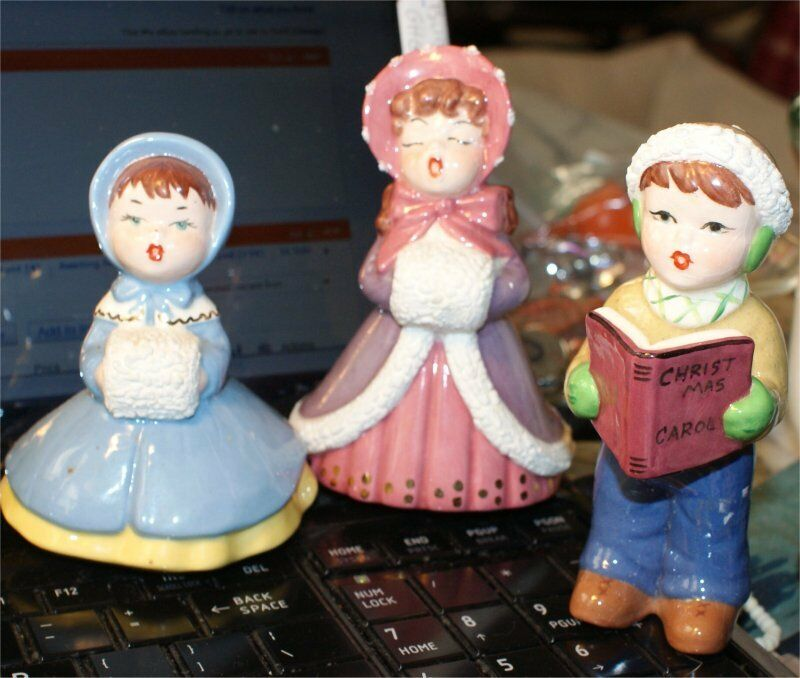 Vintage Wooden Christmas Carolers Set Of 3 Victorian: 1958 Handmade CHRISTMAS CAROLERS 6 FIGURES VICTORIAN STYLE
