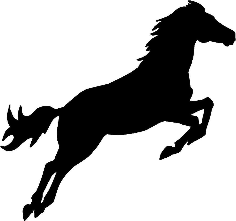 "Horse Jumping - 4"" x 3.75"" - Choose Color - Decal Vinyl ... Jumping Horse Silhouette Clip Art"