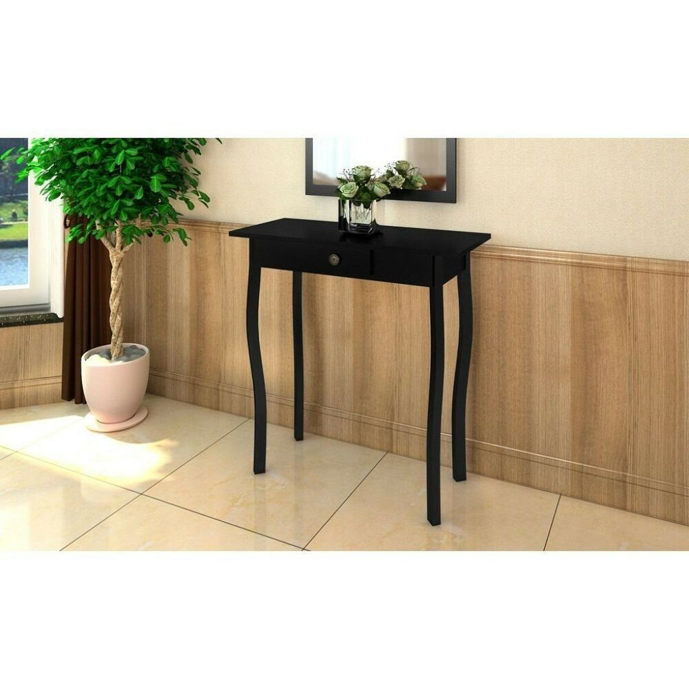 Small Black Foyer Table : Vintage entryway console occasional small side table desk