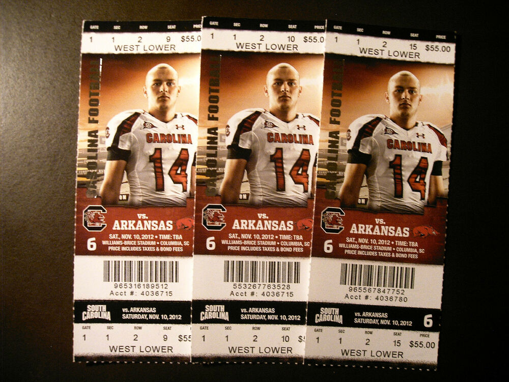 South Carolina Gamecocks 2012 NCAA football ticket stub vs ...